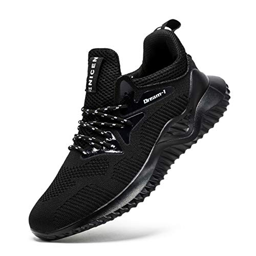 SONLLEIVOO Mens Black Shoes Athletic Workout Shoes Wide Casual Fashion Sneakers Lightweight Trail Black Shoes for Men