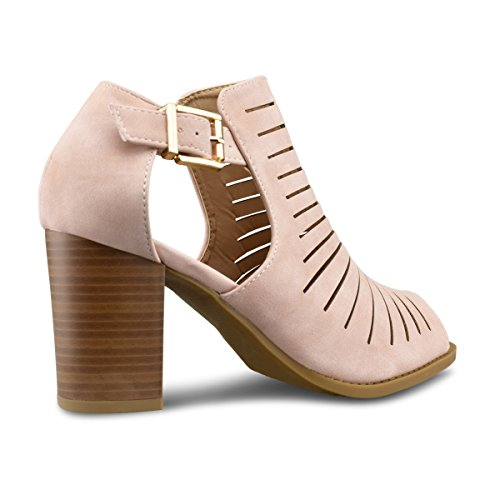 Sandal Toe Blush Wood Leather Sexy Womens Premier Vegan Stacked Cutout Heel High Standard Strappy Shoe Open pBnnwvAq