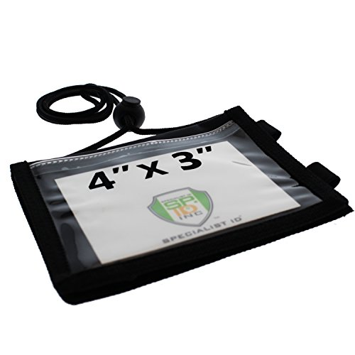 Ultimate 4X3 Nylon Credential Badge Holder for Trade Shows, Conventions & Travel - 5 Pockets, Zipper, Pen Holder and Adjustable Neck Cord by Specialist ID (Black) (Round Ticket Holder compare prices)
