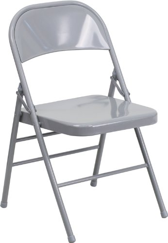 Steel Chair Folding Black - Flash Furniture HERCULES Series Triple Braced & Double Hinged Gray Metal Folding Chair