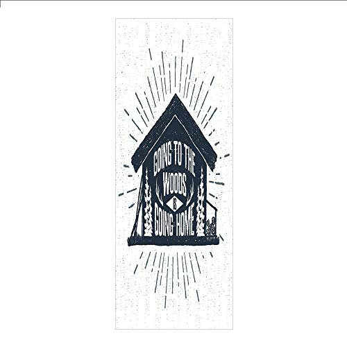 3D Decorative Film Privacy Window Film No Glue,Cabin Decor,Retro Style Hand Drawn Label with Wooden Cabin Chalet Quote Hipster Lodge,Black White Grey,for Home&Office
