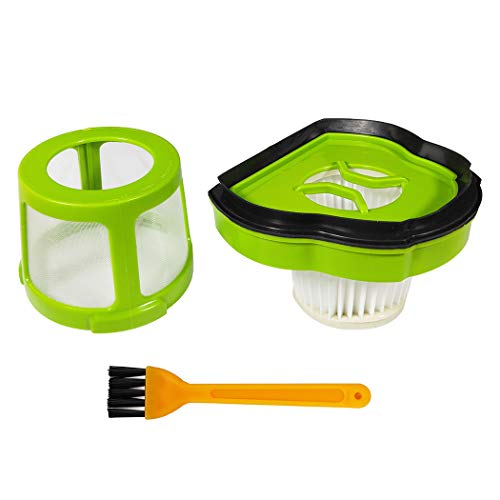 Ugardo Accessories Vacuum Filter & Silver Mesh Filter Frame for Bissell 1782 17823 Pet Hair Eraser Cordless Hand and Car Vacuum Cleaner, Green/Black Replacement Part #1608653 with A Cleaning Brush