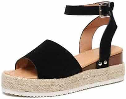 3dfd326953 Athlefit Women's Platform Sandals Espadrille Wedge Ankle Strap Studded Open  Toe Sandals