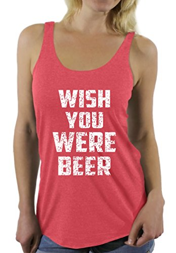 Awkwardstyles Wish You Were Beer White Sayings Racerback tank tops + Bookmark S Vintage Red
