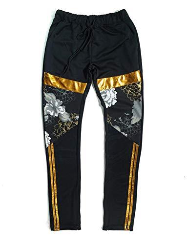 Henry & William Men's Hipster Hip Hop Golden Floral Striped Print Fashion Track Suit-Track Jacket and Track Pants (P-Black, S) (Hipster Fashion)