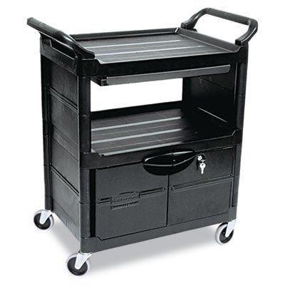 RCP345700BLA - Rubbermaid Utility Cart With Locking Doors (Cabinet 2 Rubbermaid Door)
