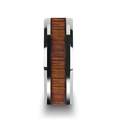 Thorsten KONA Tungsten Carbide Wedding Ring with Koa Wood Inlay and Polished Beveled Edges Comfort Fit Lightweight Durable Wooden Wedding Band - 8mm by Rings by Thorsten