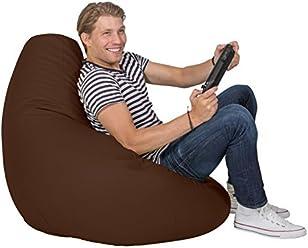 Lumaland Luxury stylischer Gaming Beanbag Lederimitat Sitzsack 230L Füllung Indoor Outdoor verschiedene Farben Braun