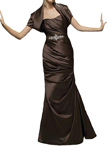 JOYNO BRIDE Strapless satin Beading sash Mermaid mother of the bride dress (16, Chocolate)