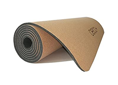 "Oeco Plus Sustainable Cork Yoga Mat w/Natural Rubber, Non-Toxic, Non-Slip, Even Grippier w/Sweat at Hot Yoga, No Yoga Towel Needed, 72"" x 24"" x 5 mm Extra Large/Wide, Eco-Friendly"
