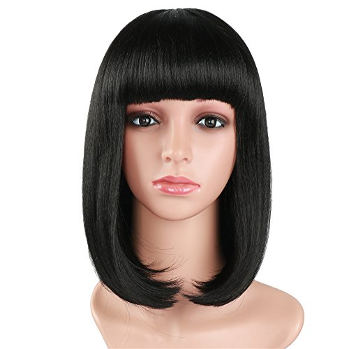 Fani Short Straight Hair 14'' Bob Wig Heat Resistant Fiber Wig with Flat Bangs Natural Looking Black Color Daily Part (with a Free Wig Cap) (Natural Style Bob Wig)
