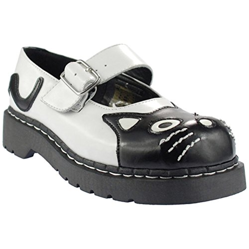 U GIRL Jane WOMEN K and Kitty by Mary T2006 White SHOES Anarchic TUK T LEATHER Black xwp18FqxEW