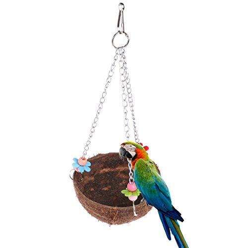 Wrisky Natural Coconut Shell Bird Nest Cage Feeder Hanging Standing Toys For Pet - Feeder Bird Coconut