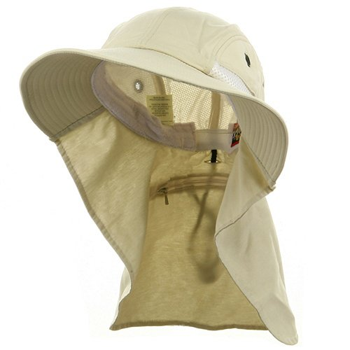 Whispering/Adams UV 45+ Extreme Condition Flap Hat-Stone OSFM (Cotton E4hats Flap Hat)