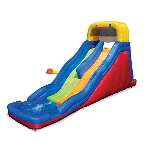 MRT SUPPLY Double Drop Raceway Inflatable 2 Lane Racing Water Slide and Splash Pool with Ebook