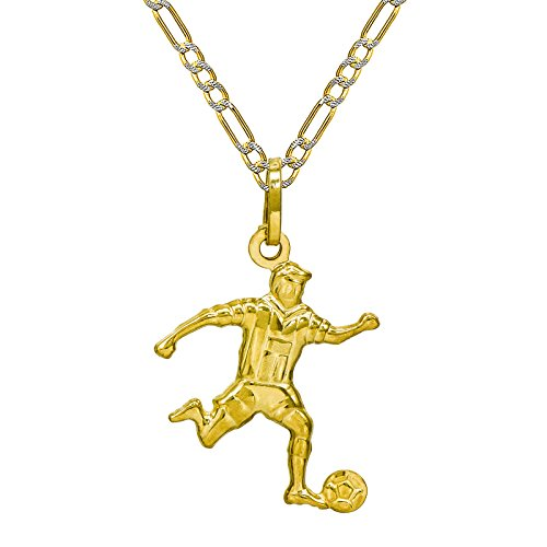 14K Yellow Gold Soccer Player Pendant Necklace (16 Inches, White Pave Figaro Hollow Chain)