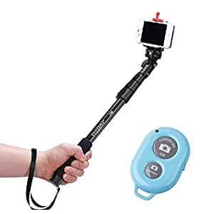 Luxsure®Extendable Selfie Handheld Stick Monopod with Adjustable Phone Holder and Bluetooth Wireless Remote Shutter for iPhone 6/iPhone 6 Plus iPhone 5S/5C/5/4S Samsung Galaxy S5/S4/S3 Samsung Galaxy Note 3/2 LG G3/G2 HTC One M8/M7 Google Nexus 4/5 Sony Xperia Z1/Z2 Motorala Moto X/G OnePlus One+ A0001 Huawei P6 Smart Phones (Blue with Shutter)