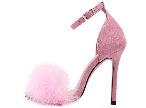 Piume YCMDM delle donne degli alti talloni dei sandali pattini romani albicocca Vino Rosso Rosa Nero 39 36 35 38 37 40 , pink , 37