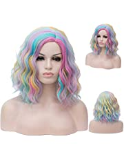 Short Bob Wigs with Bangs Curly Natural Wavy Short Wig Synthetic Cosplay Wig Heat Resistant Bob Party Wig Colorful Costume Wigs 14inch