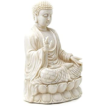 #1 Beautiful Blessing Buddha Antique White Polystone