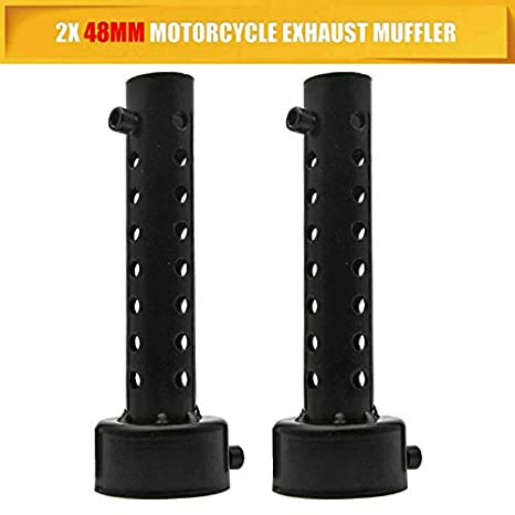 MASO 2X 60mm Universal Motorcycle Exhaust Silencer Motorbike Muffler Can Insert Baffle Silencer Black
