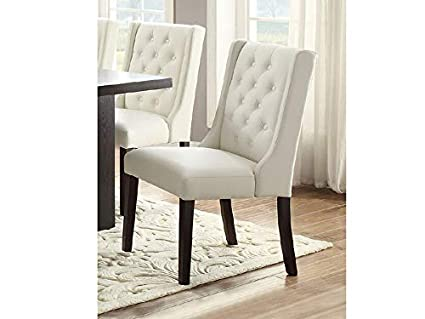 Amazon Com Set Of 2 Casual White Faux Leather Dining Chairs With