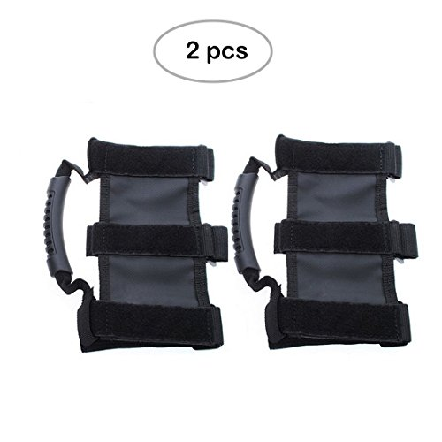 1 Pair Black Jeep Wrangler Roll Bar Grab Handle,Topist Heavy Duty Ultimate Roll Bar Grab Handles Set
