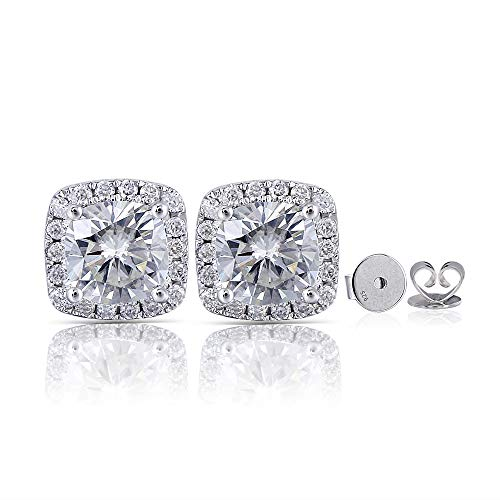 (DovEggs 14K White Gold Post 2ct Center 6X6mm H-I Color Cushion Cut Halo Created Moissanite Stud Earring Platinum Plated Silver Push Back for Women)
