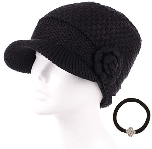 MIRMARU Women's Winter Cable Knitted Beret Visor Beanie Hat with Scrunchy.(Flower,Black)