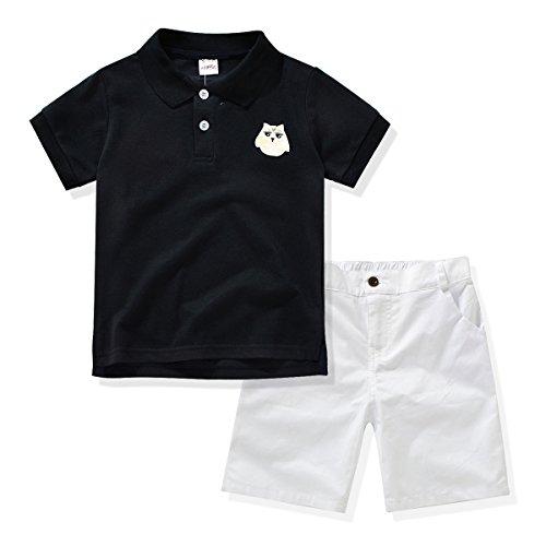 Miniowl Little Boys' 2pcs Shorts Set Polo T-shirt with Elastic Waistband Shorts (2t, Black) (Piece 2 Plastic Tee)
