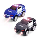 Aole Car Toys, 2 Pcs Electronic Police Car Toy Compatible with Race Car Track Toys Set Vehicles with 5 Lights Toy Car for Kids Boys Girls