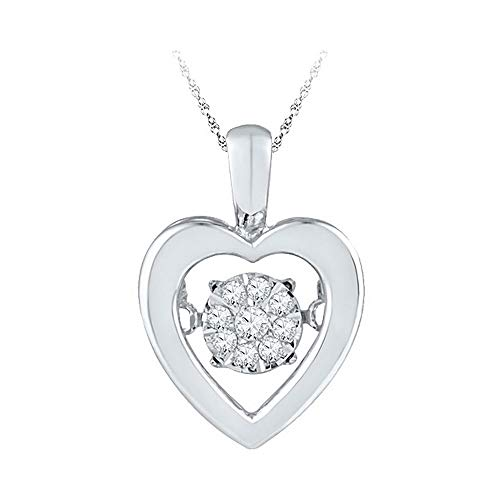 (Jewel Tie Solid 925 Sterling Silver Round Diamond Moving Dancing Rhythm Twinkle Cluster Heart Love Pendant 1/12)