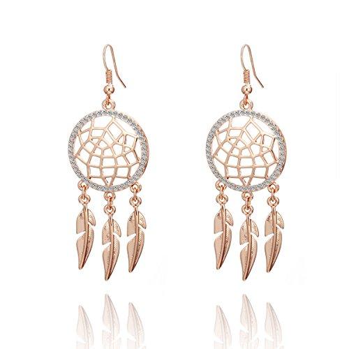 Dreamcatcher Feather Earrings (Women Dangle Earring Dream Catcher Drop with Feather Earring Shining Rhinestone Earring Hoop Earring with CZ Crystal (Rose Gold Dream Catcher))