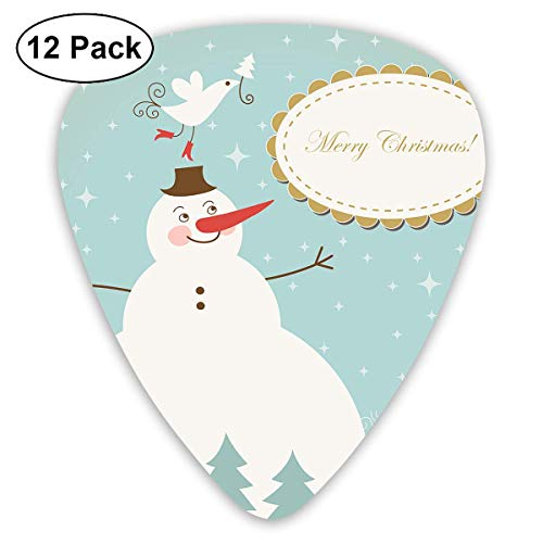 Cute Snowman with Bird Guitar Picks, 12 Pack Unique Designs Stylish Colorful Guitar Picks for Bass, Electric and Acoustic Guitars