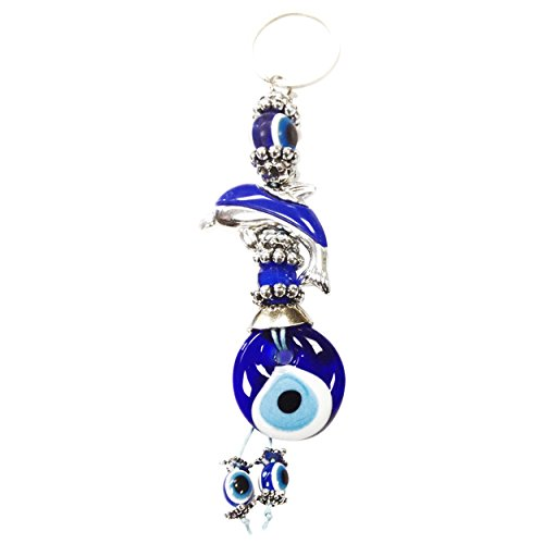 CF76881298-2, Evil Eye Dark Blue Dolphin Key Chain, hand made in Turkey, 6.25 (Crystal Florida Dolphin)