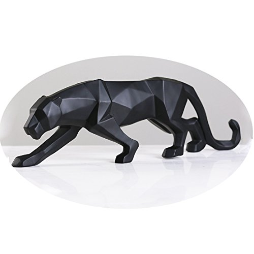 wyhweilong White Black Panther Sculpture Ornaments Sculpture Geometric Resin Leopard Statue Wildlife Decor Gift (Black) (Sculptures Resin Wildlife)
