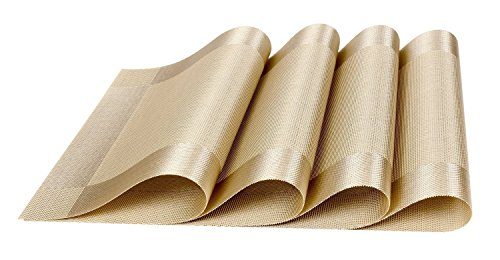 Human Body Placemat (Moldiy Placemats for Table Heat-resistant Washable Stain-resistant Woven Vinyl Kitchen PVC Non-slip Insulation Placemat (Golden))