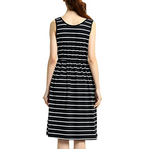 Dress Midi Pockets Waist Perfashion Striped Black Summer with Women's Empire YxqU7T