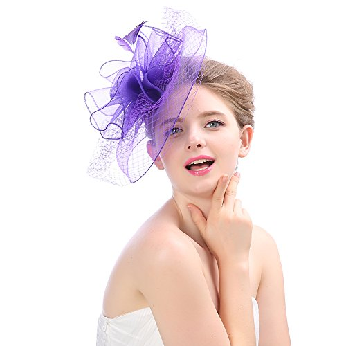 Fankeshi Women's Cocktail Sinamay Fascinator Hat Flower and Veil Hair Clip Hat Silver by Fankeshi (Image #2)