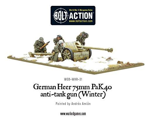 Warlord Games, German Heer 75mm Pak 40 anti-tank gun (Winter), 28mm Bolt Action Wargaming Miniatures
