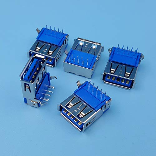 Davitu 50Pcs High Speed USB 3.0 Type A Right Angle Female 9Pin DIP PCB Socket Solder Connector
