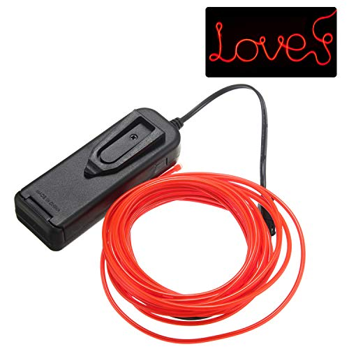 jiguoor EL Wire 16.4ft/ 5M with Battery Pack Super Bright Light Neon Tube Neon Glowing strobing of 360 Degrees of Illumination for Party Decoration (Red,16.4ft/ 5M)]()