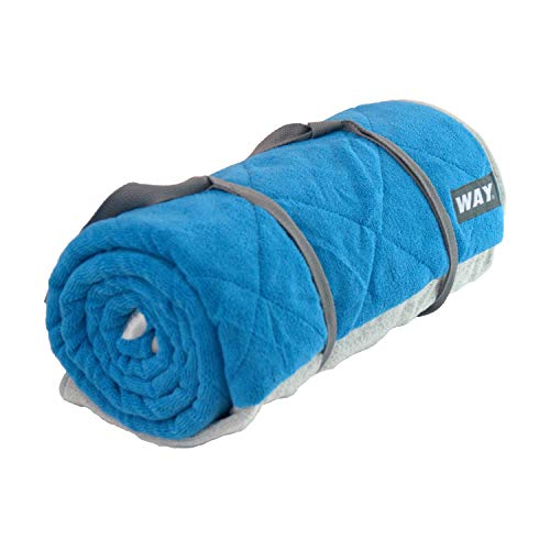 WAYmat Core Exercise Mat – Thick All-Purpose Non-Slip Yoga Towel Mat, Perfect for Hot Yoga, Bikram and Pilates (Blue)