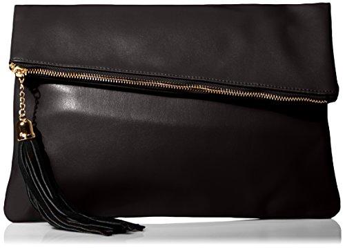 MG Collection Snakeskin Foldover Clutch, Black, One (Snakeskin Flap Clutch)