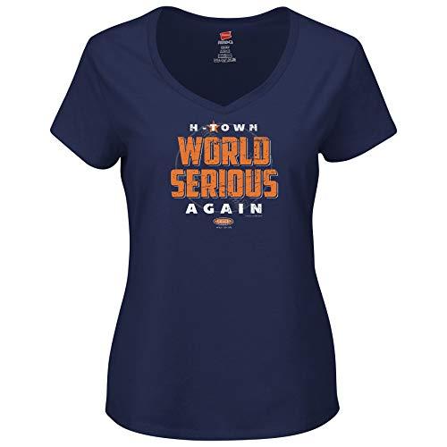Smack Apparel Houston Baseball Fans. World Serious Again. Navy Ladies Shirt (Sm-2X) (V-Neck, 2XL)