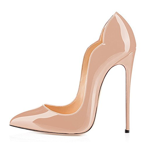 (Maguidern Pumps Shoes for Women, 5 inches Spikes Stilettos Wedding and Party Dress Pointed Toe High Heel Shoes Nude Size 7.5)