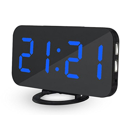 Yeefant High Sensitive Light Sensor LED Digital Alarm Clock with USB Port for Charger Touch-Activited Snooze,Outlet Powered and Battery for Most Smartphone and Android Phone Charging,Blue,US Charger