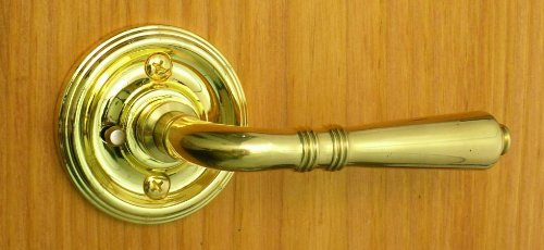 Period Brass Door Hardware (Providence by FPL- Solid Brass Privacy Lever Set for Bedroom / Bathroom Doors, 2-3/8