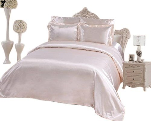 OctoRose 6 PCS Duvet Cover Set, Supreme Quality Sexy Silky Satin,1 Large Size Double Heads Zipper Duvet Cover,1 Fitted Sheet, 2 Pillow Cases, 2 Pillow Shams (Cream, Queen)