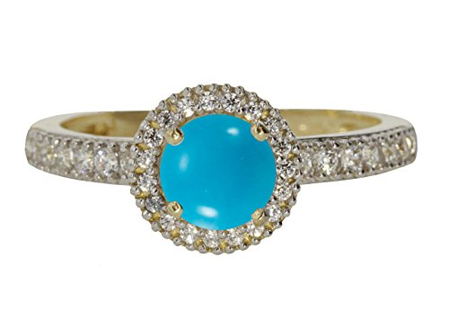 10k Yellow Gold Cabochon Natural Genuine Blue Turquoise Round Solitaire Halo Vintage Engagement Ring Size 9 by Sac Silver